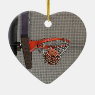 Basketball in the Net Double-Sided Heart Ceramic Christmas Ornament