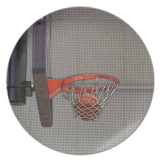 Basketball in the Net Plates
