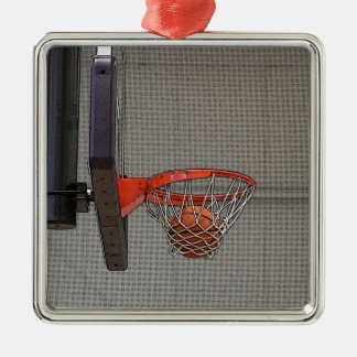 Basketball in the Net Silver-Colored Square Decoration