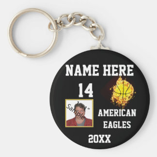 Basketball Keychains with Flame Photo