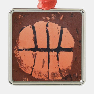 Basketball Lino Art Print by Shoots McHoop Silver-Colored Square Decoration