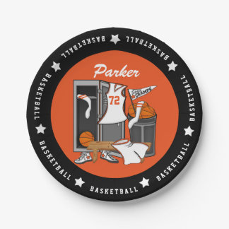 Basketball Locker Room Custom Player Name Number Paper Plate