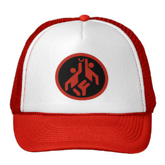 Basketball, modern large icon scarlet red on black cap