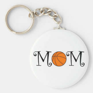 Basketball Mom Keychain, Black Basic Round Button Key Ring