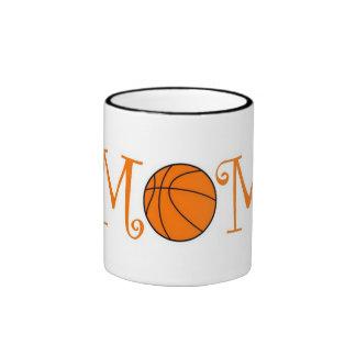 Basketball Mom, Orange Ringer Mug