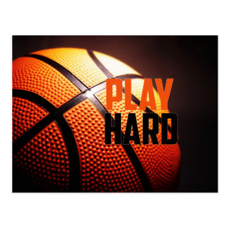 Basketball motivation - play hard by storeman postcard