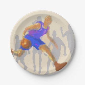 Basketball Moves Art 7 Inch Paper Plate
