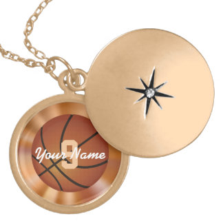 Basketball Necklace with Number & Name for Her
