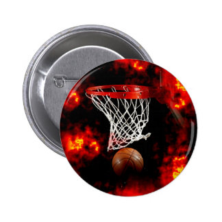 Basketball Net, Ball & Flames 6 Cm Round Badge