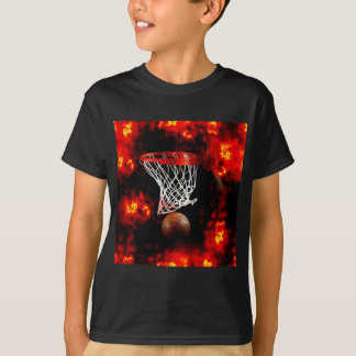 Basketball Net, Ball & Flames T-shirts