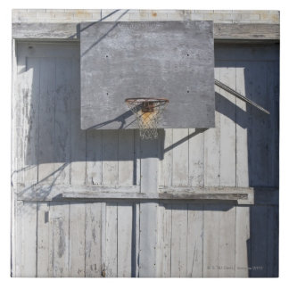 Basketball net on rustic building large square tile