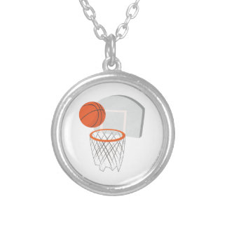 Basketball Net Round Pendant Necklace
