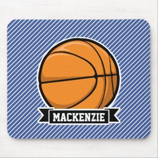 Basketball on Blue & White Stripes Mousepad