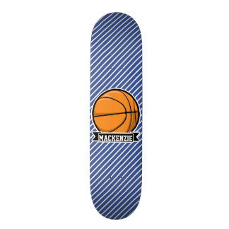 Basketball on Blue & White Stripes Custom Skate Board