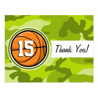 Basketball on bright green camo, camouflage postcard