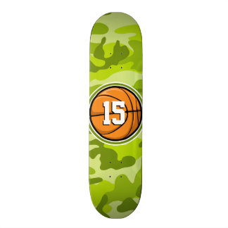 Basketball on bright green camo camouflage skate decks