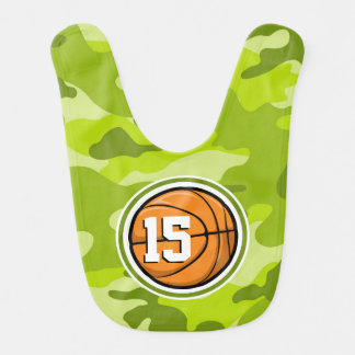 Basketball on bright green camo camouflage baby bibs
