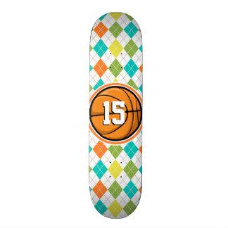 Basketball on Colorful Argyle Pattern Custom Skateboard