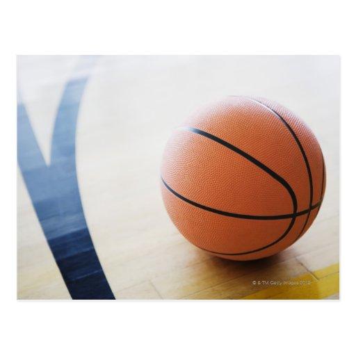 Basketball on court postcards