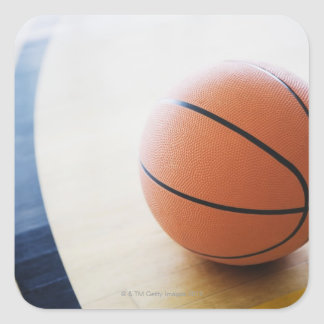 Basketball on court square sticker