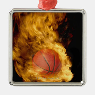 Basketball on fire (digital composite) christmas ornament