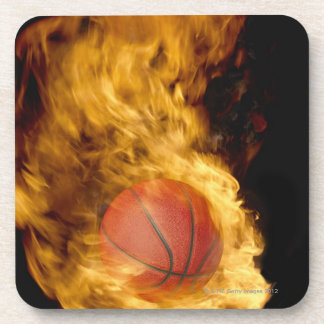 Basketball on fire (digital composite) coaster