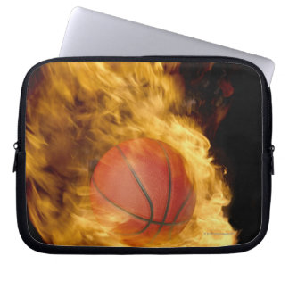 Basketball on fire (digital composite) laptop sleeve