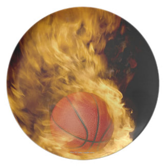 Basketball on fire (digital composite) party plate