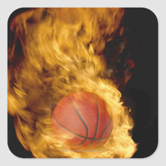 Basketball on fire (digital composite) square sticker