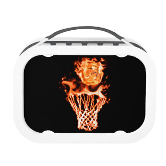 Basketball on fire going through the fire net lunchboxes