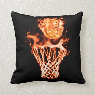 Basketball on fire going through the fire net throw cushion
