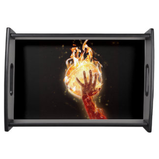 Basketball on Fire Serving Tray