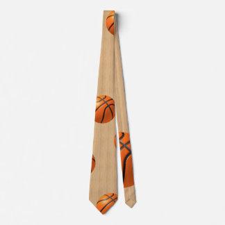 Basketball on hardwood tie