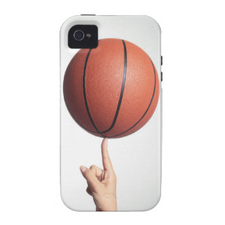 Basketball on index finger,hands close-up vibe iPhone 4 covers