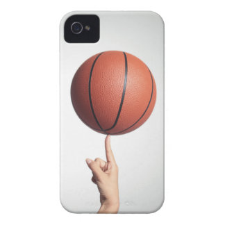 Basketball on index finger,hands close-up iPhone 4 case