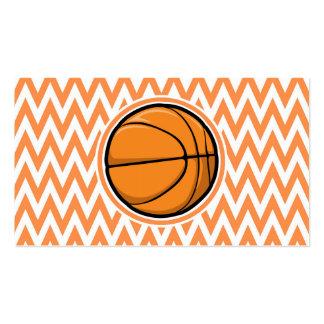 Basketball on Orange and White Chevron Business Card Templates