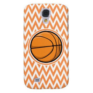 Basketball on Orange and White Chevron Galaxy S4 Case