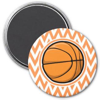 Basketball on Orange and White Chevron Magnets