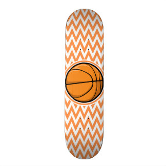 Basketball on Orange and White Chevron Custom Skate Board