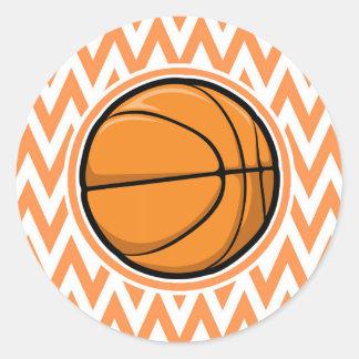 Basketball on Orange and White Chevron Round Stickers