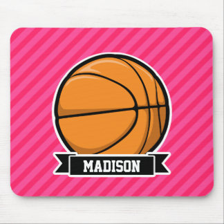 Basketball on Pink Stripes, Striped Mousepad