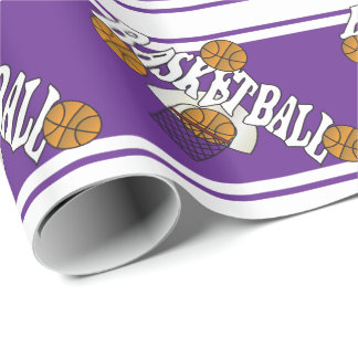 Basketball on Purple and White Background Wrapping Paper