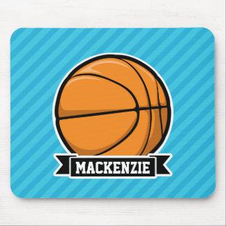 Basketball on Sky Blue Stripes Mouse Pad