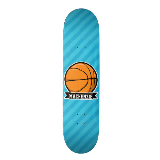 Basketball on Sky Blue Stripes Skate Board