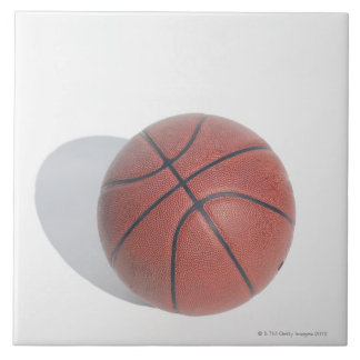 Basketball on white background large square tile