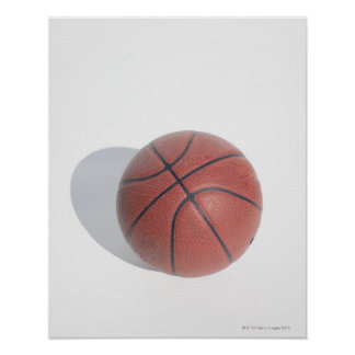 Basketball on white background poster