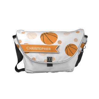 Basketball Pattern on White Commuter Bag