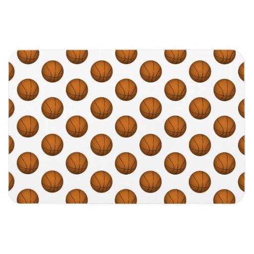 Basketball Pattern Rectangle Magnet