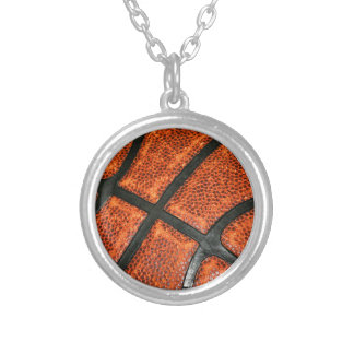 Basketball Pattern Silver Plated Necklace