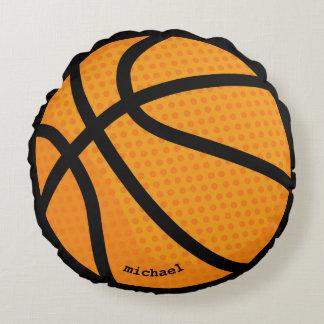 Basketball personalised name round cushion